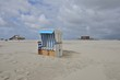 beach of St. Peter Ording with hooded beach chair