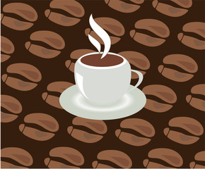 vector cup of coffee with beans background