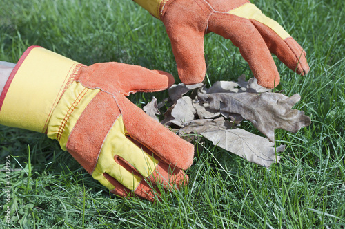 Work gloves are used for lawn care