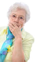 Portrait of a surprised senior woman