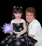 portrait of Grandmother and young granddaughter isolated