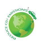 Green earth with car reduce CO2 message poster