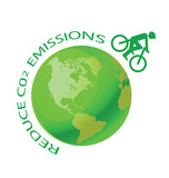 Green earth with pushbike reduce CO2 message poster