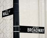 Fototapety Wall St and Broadway street sign