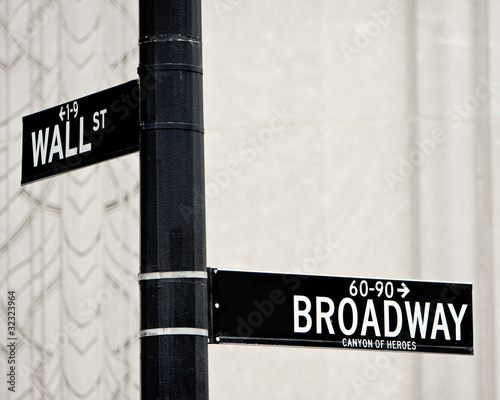 Wall St and Broadway street sign
