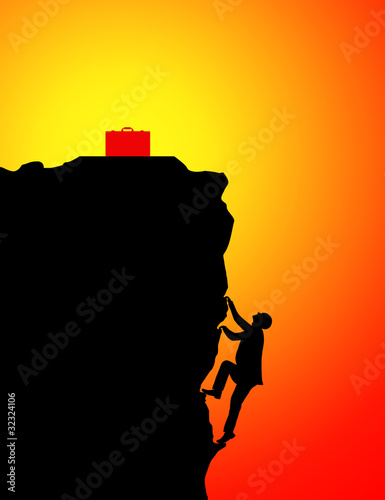Businessman climbing for briefcase