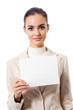 Happy business woman showing blank signboard, isolated