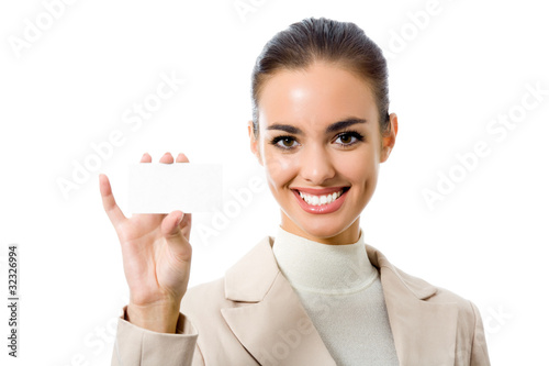 Happy business woman with blank business card, isolated