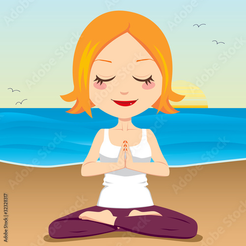 Woman meditating in yoga lotus position on the beach