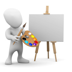 3d Little man at his easel ready to paint