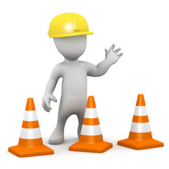 3d Little man puts out the traffic cones