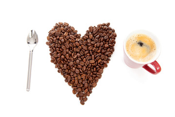 text I love coffee in beans and cup over white background