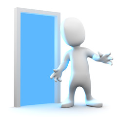3d Little man sees the blue light through the doorway