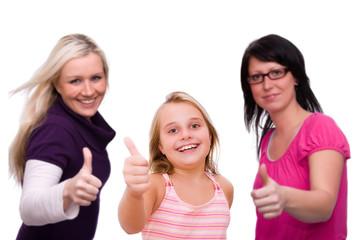 drei Damen mit Daumen hoch