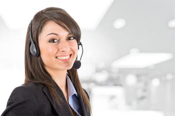 Girl wearing headset