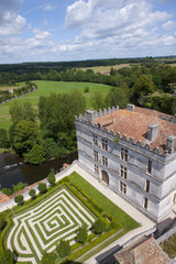 Rooftop of large estate and formal garden, Bourdeilles, Dordogne, France