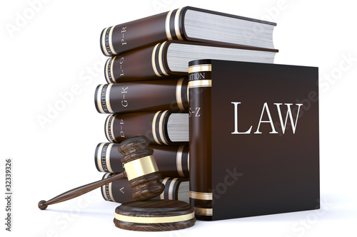 collection of law books and gavel