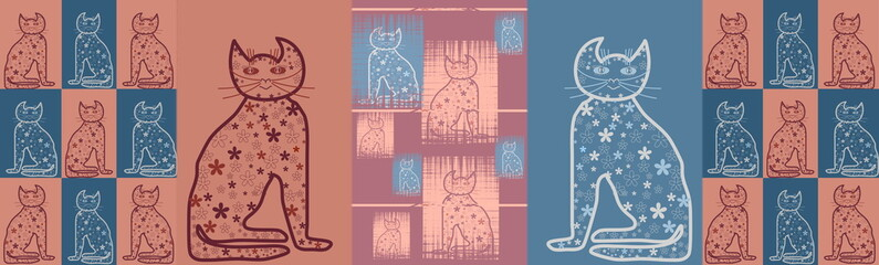 Panorama   Cats in pastel colors