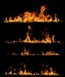 Leinwandbild Motiv High resolution fire collection, isolated on black background