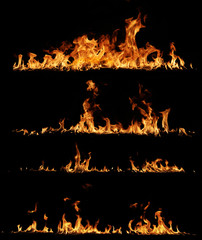High resolution fire collection, isolated on black background