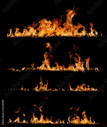 High resolution fire collection, isolated on black background - 32342198