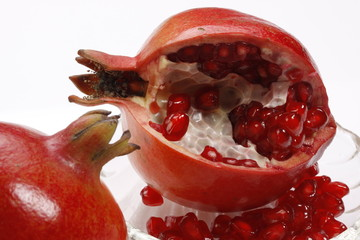fresh pomegranates with seeds