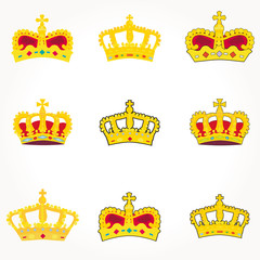 set of crowns royal vector