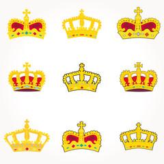 set of crowns royal vector