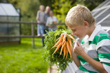Boy holding bunch of carrots with family in background