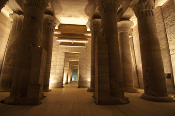 Columns in the Temple of Isis at Philae in Aswan