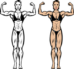 Stylized drawing of a fitness/bodybuilder competitor