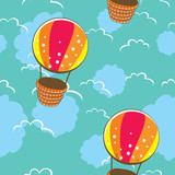 bright seamless pattern with colorful balloons