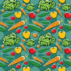 seamless pattern with vegetables and fruits