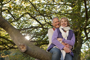 Smiling senior couple sitting on large tree branch