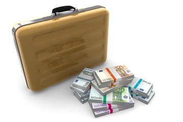 Euro Cash Packets and Golden Briefcase