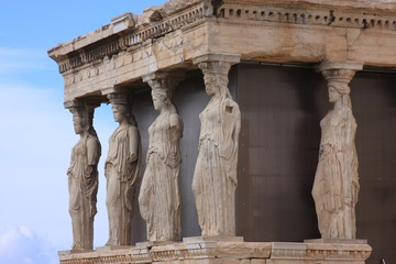 The Caryatids in Parthenon, Athens, Greece