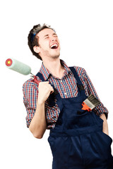 Portrait of worker laughing