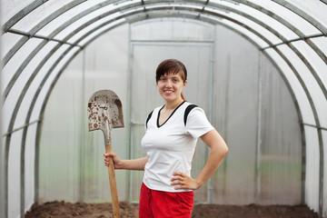 Happy  gardener with spade
