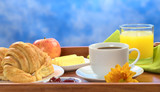 Delicious breakfast on tray poster