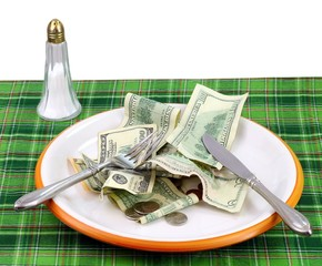 High price of food concept: Eating money
