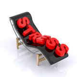 chaise longue with stress written poster