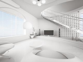 Modern weiss Wohnzimmer Interior 3d render