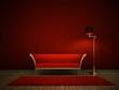 Rotes Sofa vor roter Wand