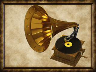 Golden gramophone on the old background