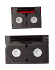 minidv and hi8 tapes isolated on white