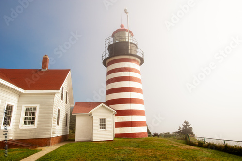 West Quoddy lighthouse on northern Atlantic coastline of Maine