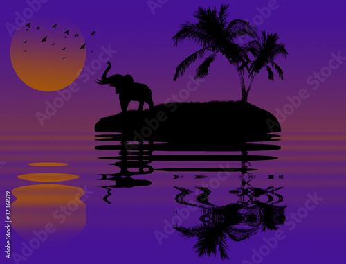 Foto op Canvas Violet Elephant in african landscape