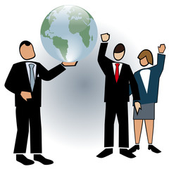 Business symbol-The Boss showing off the world
