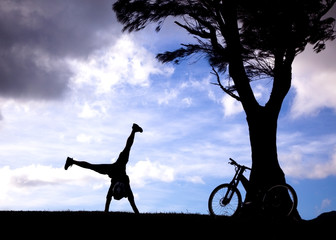 The Silhouette of mountain biker