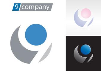 Logo spherical number 9 # Vector